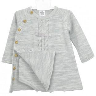 Vestido de bebé gris en punto con braguita marca Minhon