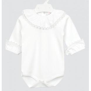 Body de bebé con volante y tira bordada marca Minhon