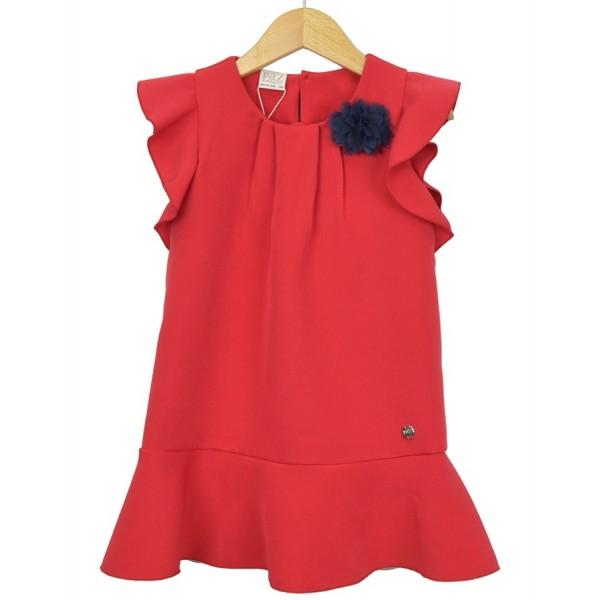 Vestido rojo con flor de tul azul marca Paz Rodríguez