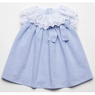 Vestido para bebita azul y blanco marca Fina Ejerique