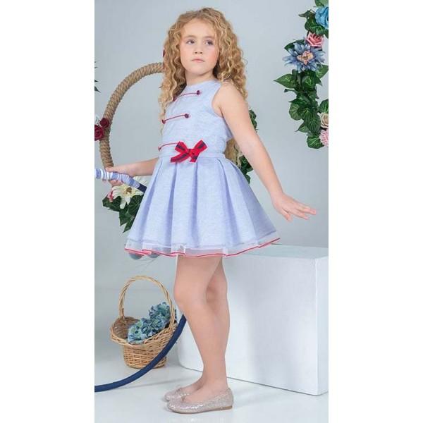 Vestido de Marta y Paula en mil rayas azul y blanco