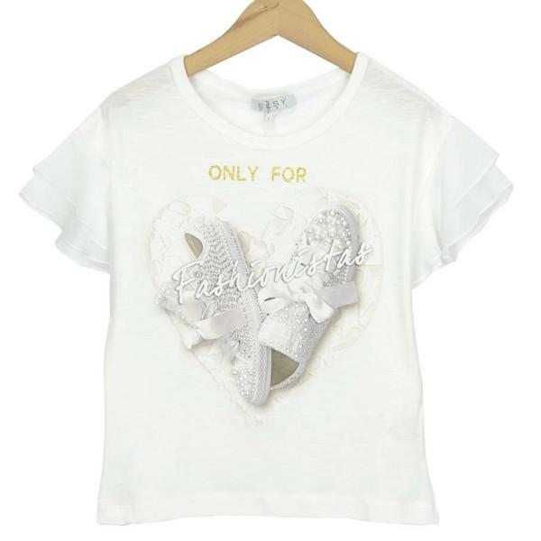 Camiseta de algodón fino marfil con zapatillas de Elsy
