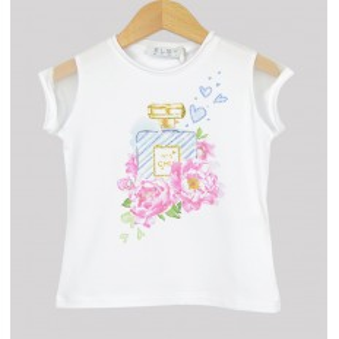 Camiseta blanca con mangas de organza marca Elsy